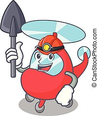 Miner helicopter mascot cartoon style
