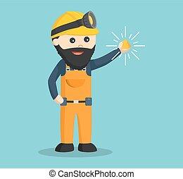 miner holding shiny gold