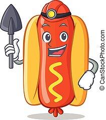 Miner Hot Dog Cartoon Character
