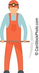 Miner icon, flat style