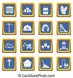 Miner icons set blue