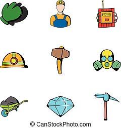 Miner icons set, cartoon style