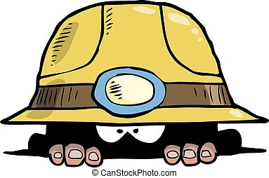 Miner peeps out of the hole vector illustration