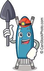 Miner iron board mascot cartoon