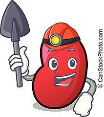 Miner jelly bean mascot cartoon vector illustration