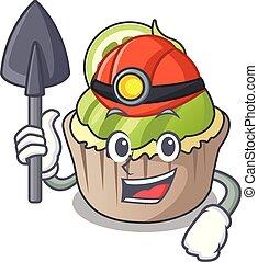 Miner lemon cupcake mascot cartoon