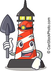 Miner lighthouse on the beach mascot