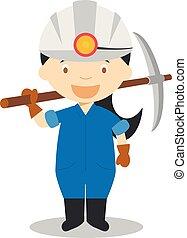 miner., mignon, série, professions, illustration, vecteur, dessin animé, femmes