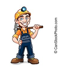 miners posing with a pickaxe on his shoulder and smiling happily