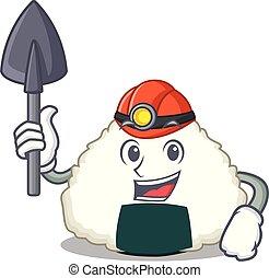 Miner Onigiri mascot cartoon style