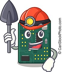 Miner PCB circuit board in PC characters vector ilustration