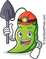 Miner peas mascot cartoon style