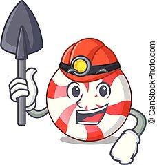 Miner peppermint candy mascot cartoon