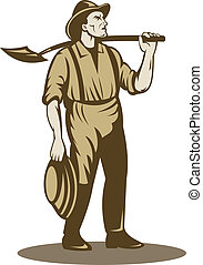 Miner, prospector or gold digger with shovel standing front isolated on white