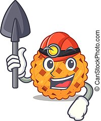 Miner pumpkin pie isolated in the mascot vector illustration