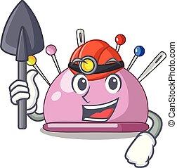 Miner sewing pins and pincushion on mascot vector...