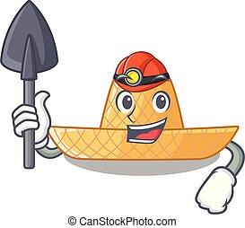 Miner straw hat in a wooden cartoon