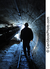 Miner, sulfur mine, Caltanissetta, - Miner walk inside a...