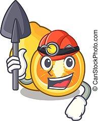 Miner ugli fruit in the cartoon fridge vector illustration