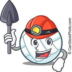 Miner volley ball character cartoon vector illustration