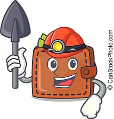 Miner wallet mascot cartoon style