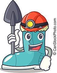 Miner winter boot on the character rak vector illustration