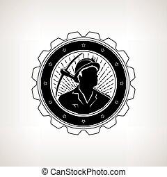 Miner with Pick Axe, Vintage Emblem - Miner in the Helmet...