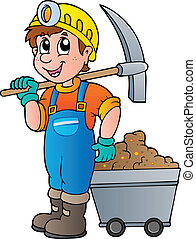 Miner with pickaxe and cart - vector illustration.
