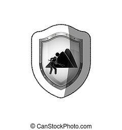 Miner worker pictogram