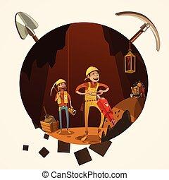 mineração, caricatura, ilustração
