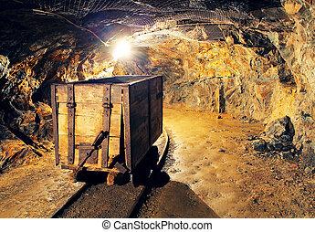 mineração, carreta, em, prata, ouro, cobre, mina