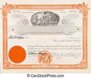 mineração, certificado, companhia, mineiros, 1898, eua.,...