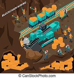 mineração, conceito, blockchain, isometric