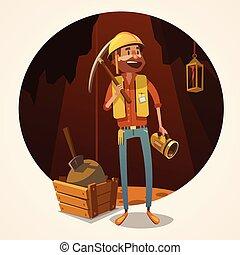 mineração, conceito, ilustração