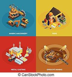 mineração, conceito, jogo, ícones