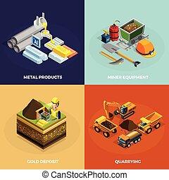 mineração, conceito, jogo, isometric, ícones