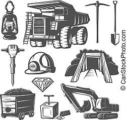 mineração, elementos, jogo, indústria