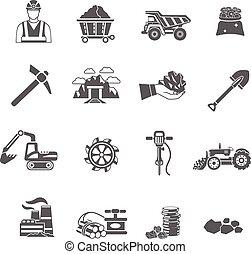 mineração, jogo, ícones