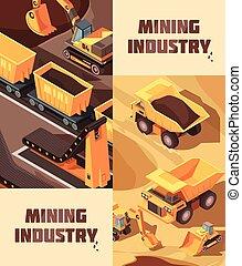 mineração, jogo, bandeiras, vertical