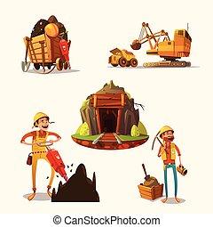 mineração, jogo, caricatura