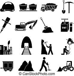 mineração, jogo construção, ícones