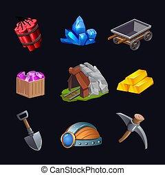 mineração, jogo, projeto fixo, ícone