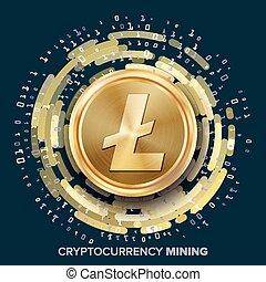 mineração, litecoin, cryptocurrency, vector., dourado,...
