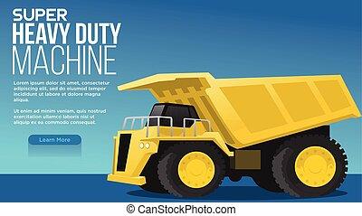 mineração, máquina, pesado, super, melhor, apresentação, alar, dever, grande, teia, carvão, conceito, sombra, illustratiuon, caminhão