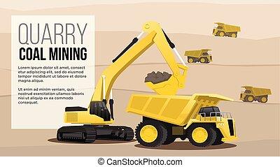 mineração, melhor, mininig, apresentação, pesado, estilo, caminhão, alar, dever, escavador, teia, carregando, carvão, quary, ilustração, conceito, apartamento, indústria