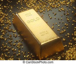 mineração, ouro, pepitas