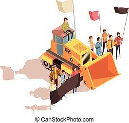 mineração, reunião, protesto, composição
