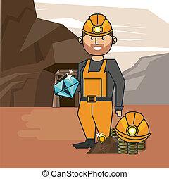 mineração, trabalhador, caricatura