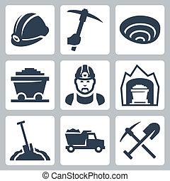 mineração, vetorial, jogo, isolado, ícones