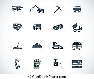 mineração, vetorial, pretas, jogo, ícones